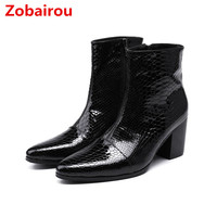 Zobairou bota masculina black genuine patent leather mens shoes high heels military snow boots chelsea cowboy boots mens