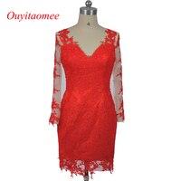 Zarif kısa kırmızı dantel gelinlik modelleri V yaka uzun kollu parti elbiseler diz boyu Vestido de Dresses elbiseler 2017 Resmi elbise