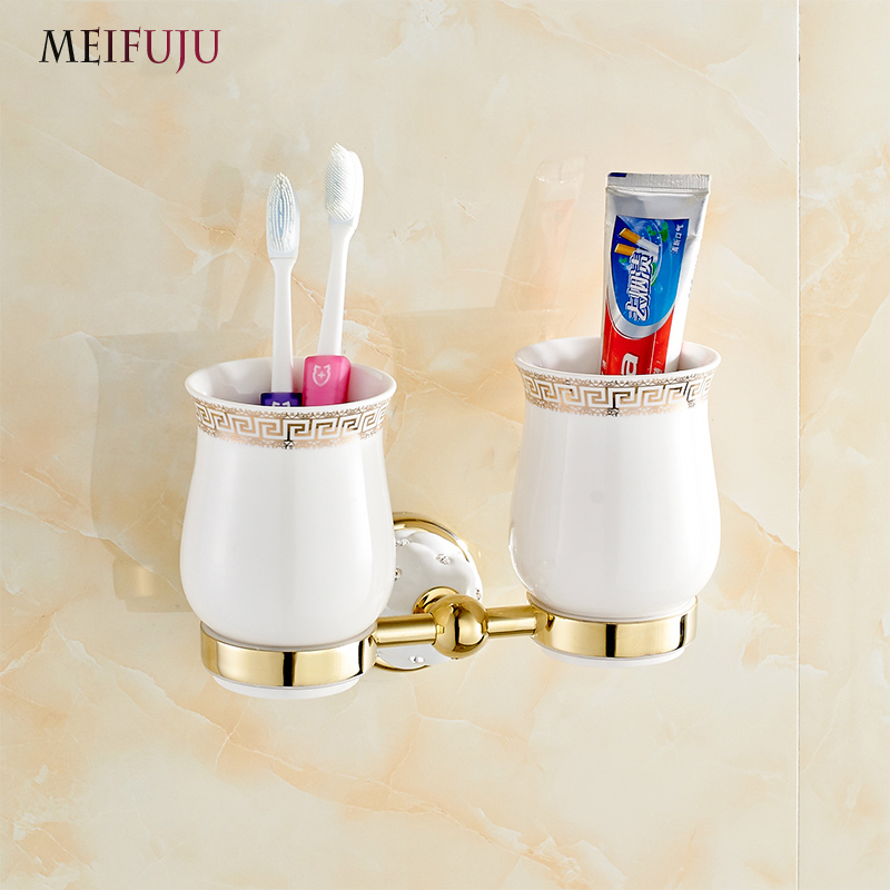 MEIFUJU Bathroom Ceramic Accessories Luxury European Style Golden Copper Toothbrush Tumbler&Cup Holder Wall Mount Bath Product flg new modern accessories european style oil rubbed bronze copper toothbrush tumbler