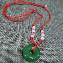 Jewelry Necklace Classic White Green Necklace Buddha Round Pendant Torque Adjustable Red Rope Chain Women Lucky Charm Gift(China)