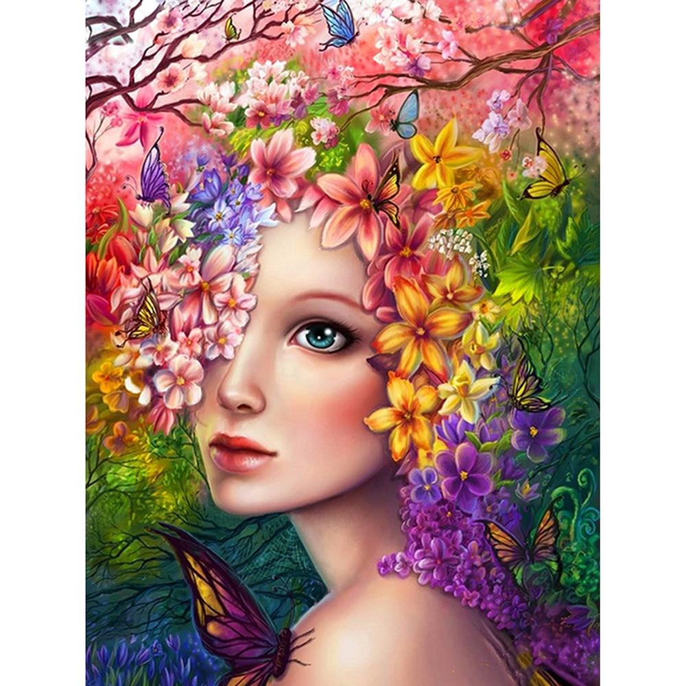 DIY Diamond Painting Rose Flower woman s head Diamond Painting Cross