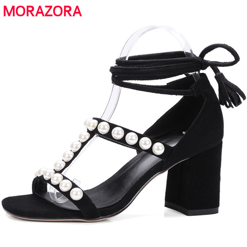 MORAZORA High heels shoes woman sandals flock ankle strap party shoes fashion sexy lady elegant summer shoes big size 34-43 big size 32 43 fashion party shoes woman sexy high heels platform summer pumps ankle strap sandals women shoes