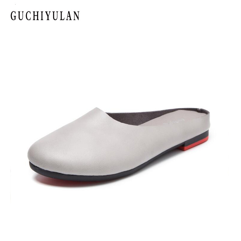 New woman genuine leather Sandals women round toe solid color cow leather ladies mules shoes four seasons Wearing Lady slippers