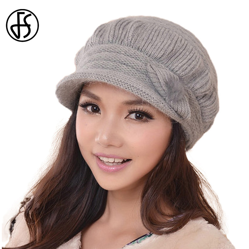 FS Women Winter Wool Rabbit Fur Blend Elegant Knitted Hats Pompon Fashion   Skullies     Beanies   Ladies Church Hats Bonnet