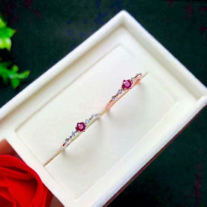 Shilovem 925 bague en argent sterling naturel rouge rubis bijoux fins femmes à la mode ethnique mariage ouvert 3*3mm qj030301agh - 3