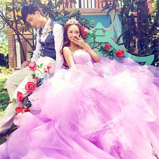 Violet Romantic Big Long Train Sweet Heart Wedding Dress