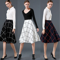 Plaid Women Skirt Midi  Tutu Black High Waist Plus Size Pleated Vintage Ball Gown Skater MF598632