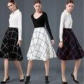 Tela escocesa de Las Mujeres Midi Falda Tutú Negro Alta Cintura Más El Tamaño de La Vendimia Plisada Balón vestido Patinador MF598632