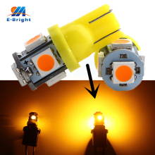 цена на 20-1000pcs 120Lm Bright T10 5050 5 SMD LED Bulbs W5W 194 Car Clearance Lights White Blue Red Amber 12V DC