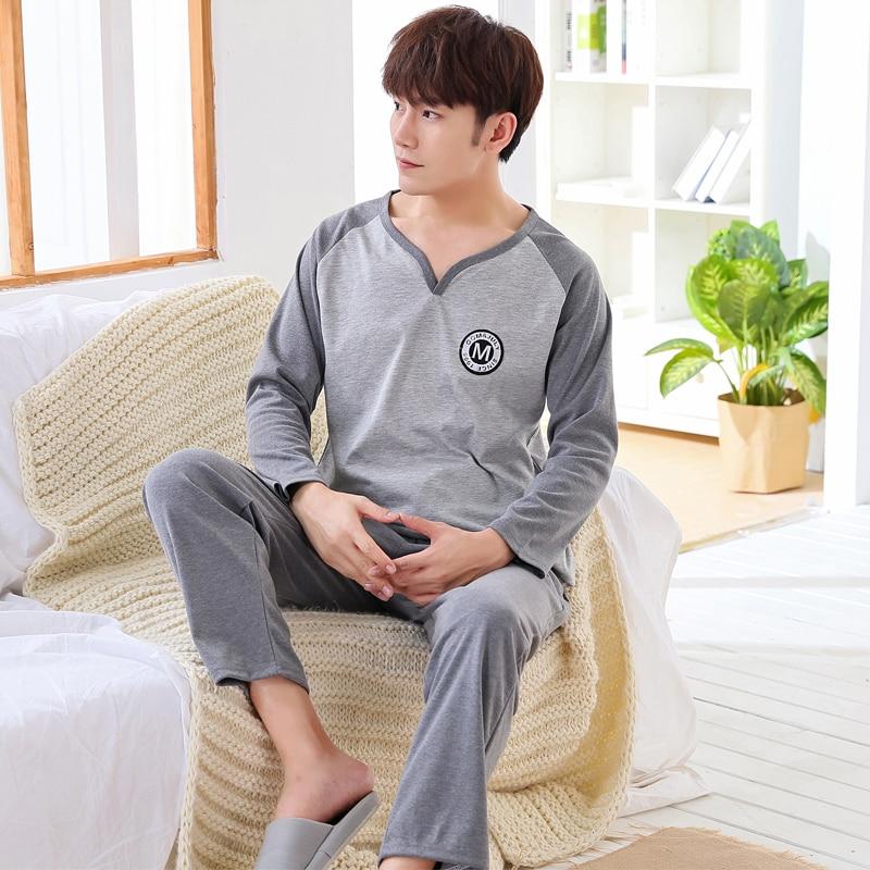 New Men Pajama Sets 2017 Winter&autumn Plus Size 3XL Cotton Long-sleeve Male Sleepwear Loose Plaid Leisure Pajamas Long Pants