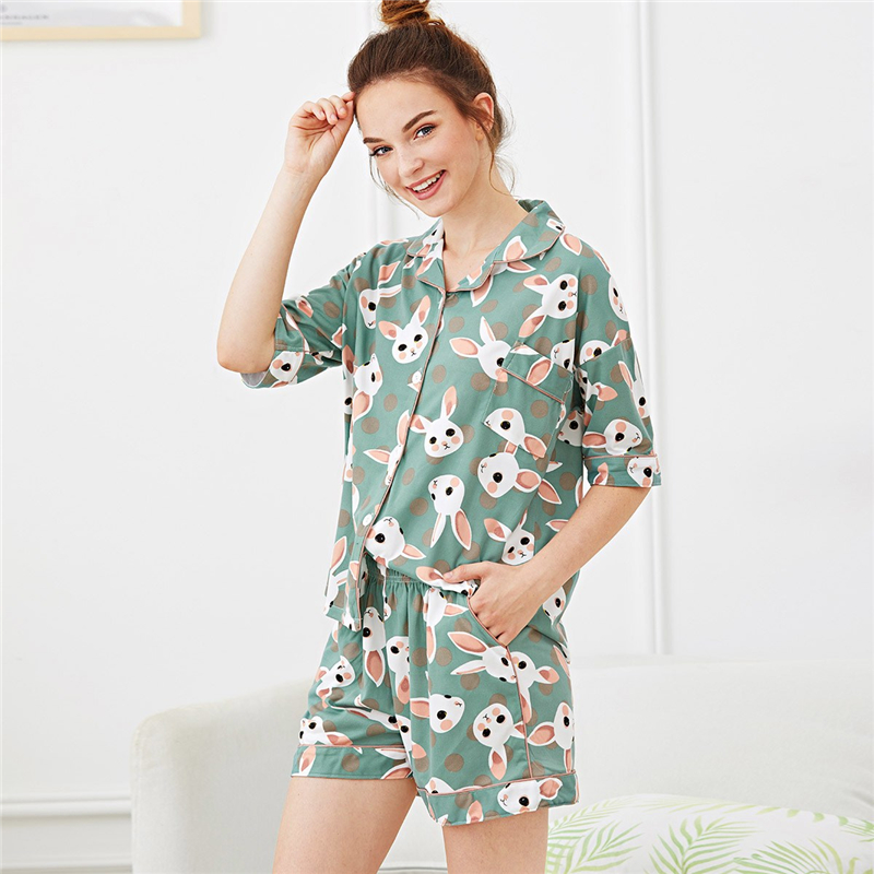 bd3dd22f66e3 Dotfashion Button Pocket Rabbit Print Polka Dot Pajama Sets Summer ...