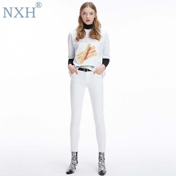 La Para Joven Moda De Berrypark Mujeres Nxh Mujer Blanco 2019 Coreano Vaqueros Ropa Cintura Mediados Tienda wFqnBH6x