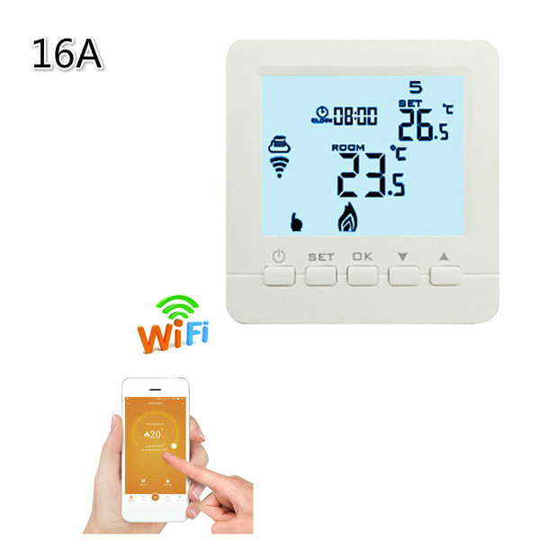 Programmable Thermostat Heating WiFi 16A 110V- 230V App Temperature Control Electric heating wifi Thermostat with 6 languages valve radiator linkage controller weekly programmable room thermostat wifi app for gas boiler underfloor heating