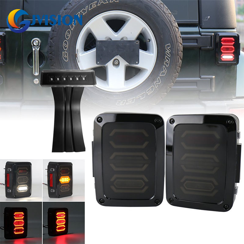 Led Tail lights for Jeep Wrangler JK Brake Reverse Turn Signal lamp Rear Parking lights & Smoke Lens 3rd LED Brake Light