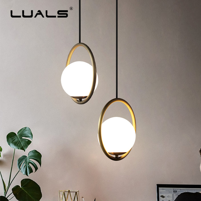Fashion Indoor Lighting Modern LED Pendant Lamp Iron Ring Suspension