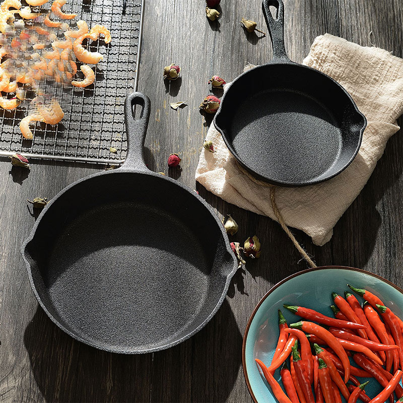 Hot Sale Cast Iron Fry Pan Pot Kettle Smoke-free Pan Kitchen Cookware Supplies Induction Cooker TY