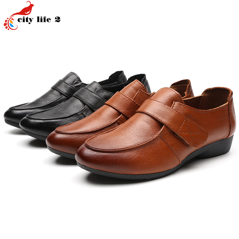 Comfortable Soft Bottom Flat With Round Leather Shoes Bow Non Slip Mother Shoes font b Women
