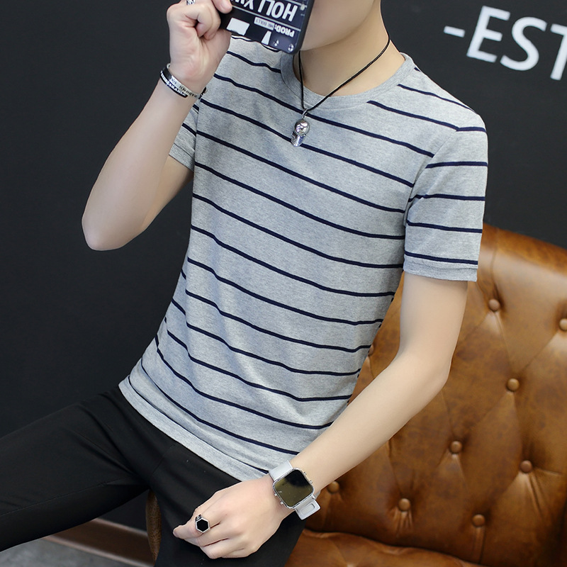 2018 Spring Men T Shirt Casual Neck Striped Solid Tshirt Hip Hop Tops
