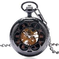 Relogio Feminino Flowers Skeleton Cooper Hollow Antique Mechanical Hand Wind Pocket Watch Men Carving Fob Clock Steampunk