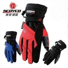 Аутентичные SCOYCO MC18 отражение мотоцикл перчатки  водонепроницаемый теплый сенсорный телефон мотоцикл перчатки синий красный цвета размер L XL XXL