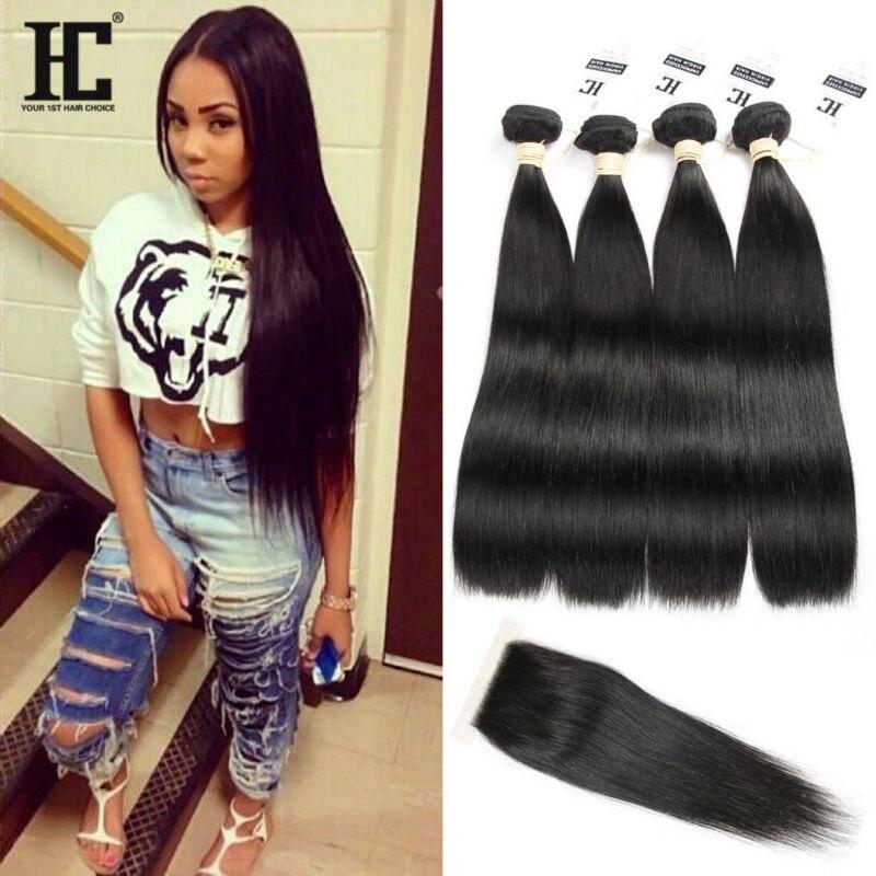 Hair Weft & Closure ( & Bang): 8A Brazilian Straight Hair with Closure Cheap Brazilian Hair 4 Bundles with Closure Straight Tissage Bresilienne Avec Closure HC