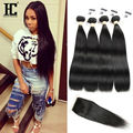 8A Brazilian Straight Hair with Closure Cheap Brazilian Hair 4 Bundles with Closure Straight Tissage Bresilienne Avec Closure HC