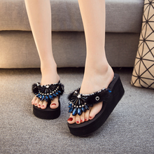 SWYIVY Wedge Slippers Women 42 2019 Rhinestone Casual Shoes Female Holiday Beach Slippers Bohemian Wedge Platform Flip-flops 41