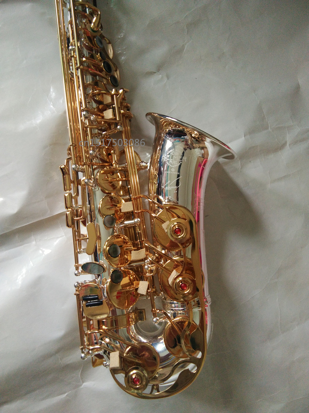 Saxophone instrument Selmer Saxophone Eb Silver Alto Sax Gold key Saxophone Professional Saxophone Mouthpiece Depth engraved brand suzuki eb alto saxophone as 500n drop e saxophone surface to electroplating black nickel gold the paint sax instrument