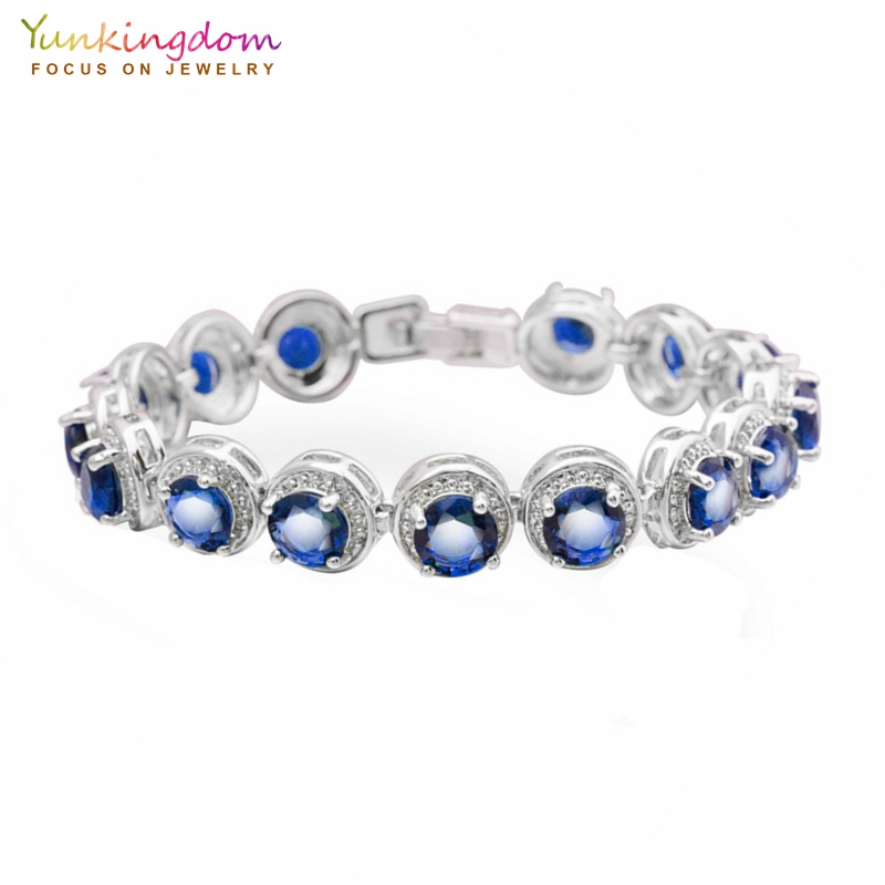 цена Yunkingdom Luxury Party Bracelets&Bangles for Women Fashion 14pcs Blue Cubic Zirconia Wedding Jewelry 2018 New