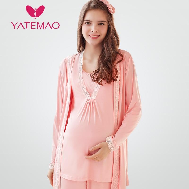 68c478421717c 3pcs/sets breastfeeding pajama breast feeding nightwear maternity nursing  pajamas maternity nursing sleepwear pregnancy pyjamas