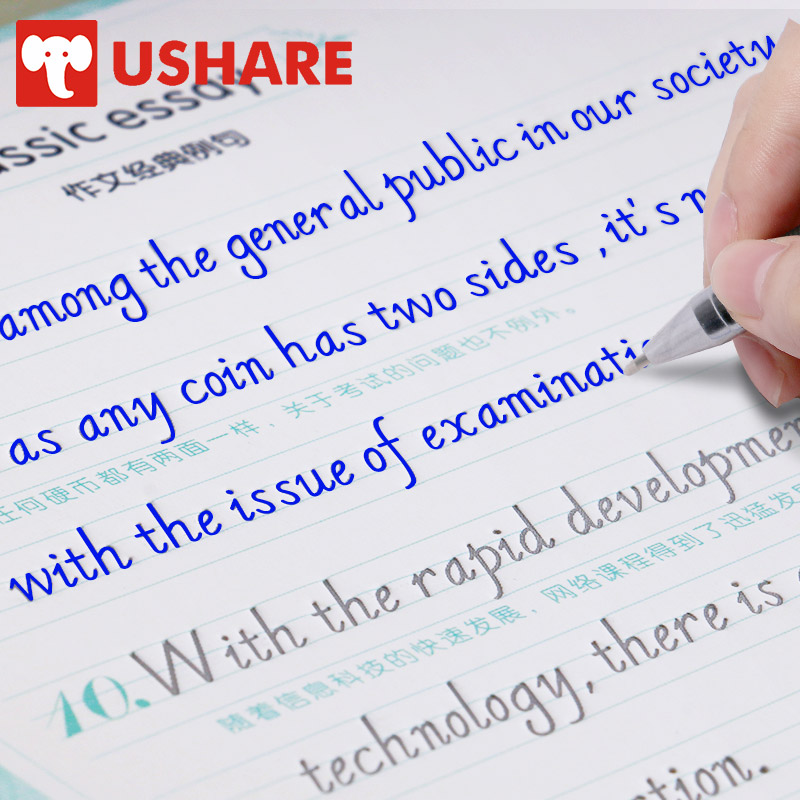 USHARE English Copybook For Calligraphy 4 Books Set Italic Handwriting Groove Copy English Word For Kid Auto Fades Can Be Reused
