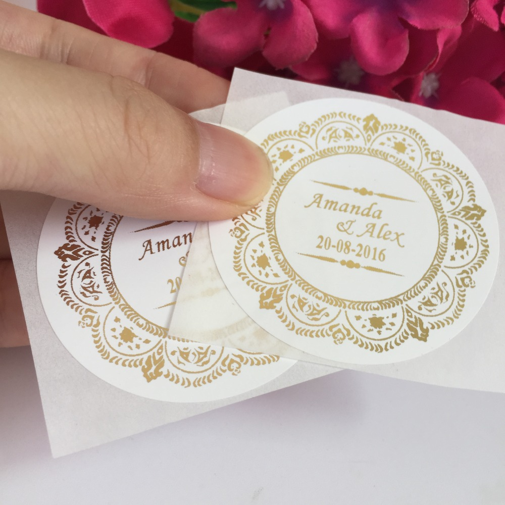 Custom 100 PCS Personalized PVC Wedding Stickers Party Any Size Matt ...