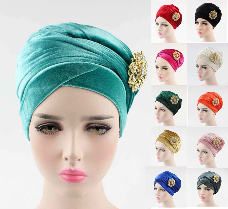 NEW luxury hijab velvet Turban Head Wrap Extra Long velour tube indian Headwrap Scarf Tie with the jewelry brooch american flags pattern extra long scarf with tassels