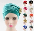 NEW luxury hijab velvet Turban Head Wrap Extra Long velour tube indian Headwrap Scarf Tie with the jewelry brooch