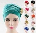 NOVO luxo veludo hijab Turban Envoltório principal Extra Longo de veludo tubo indiano Headwrap Lenço Empate com o broche jóias