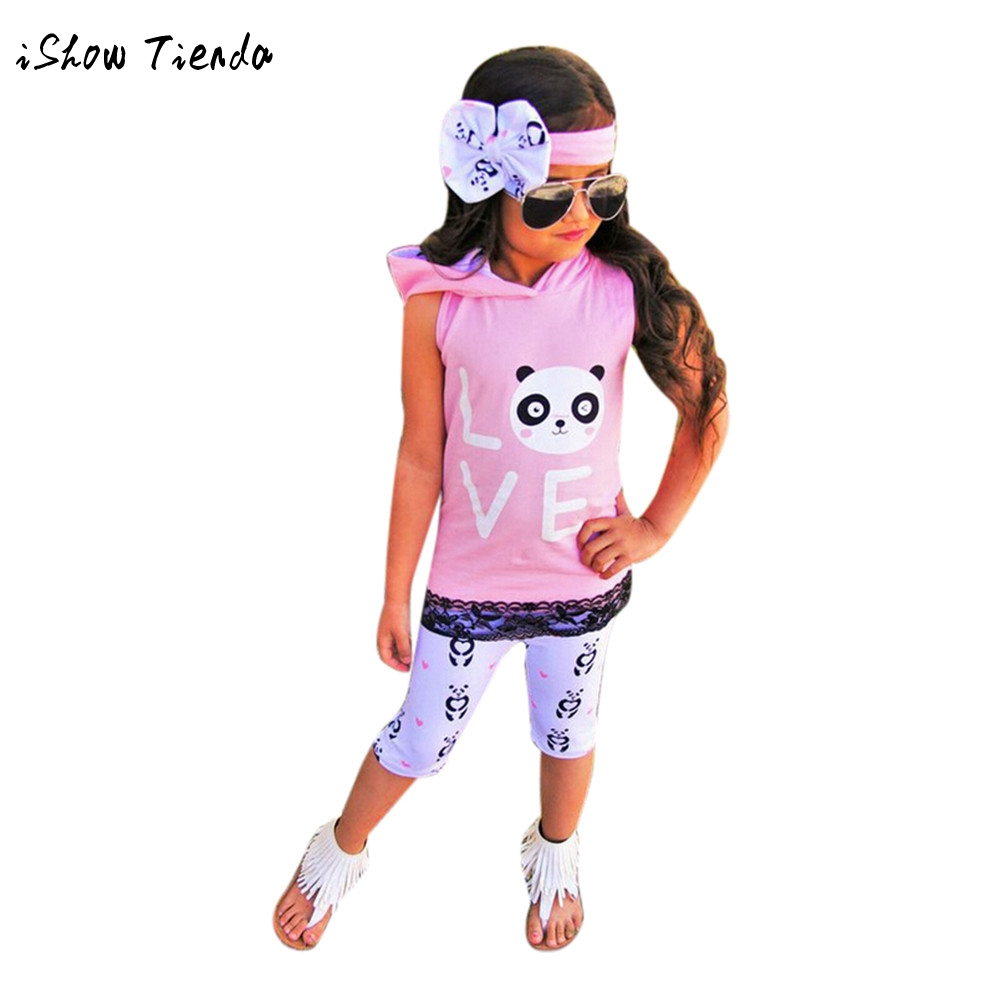 Toddler Kids Baby Girl panda Printing Hooded Vest Shirt sleevless+Pants+Headband 3pcs Outfits Clothes Set cotton child costumes ...