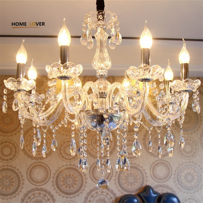 Cheap crystal chandelier home lighting lustres de cristal E14 bulb light fixtures Chandelier and Pendant Living Room Indoor Lamp