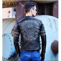 Ailooge Бесплатная shipping.gif футболка брендовая одежда Для мужчин череп Кожаные куртки Для мужчин Топ кожаная байкерская куртка. мотоциклетные