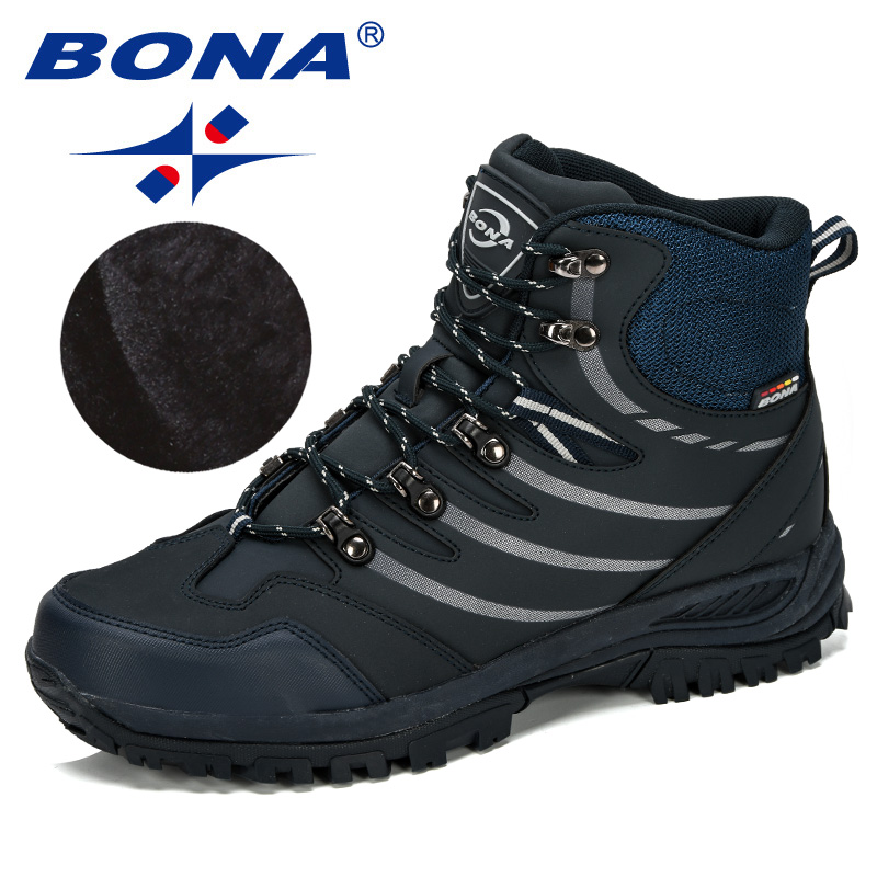 Image 5 - BONA 2019 New Designer Hiking Shoes Men Cow Split Plush Boots Man Mountain Climbing Shoes Outdoor Sport Shoes Trekking Sneakers-in Hiking Shoes from Sports & Entertainment