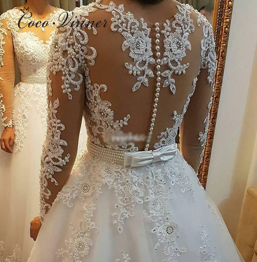 Pearls Beads 2 In 1 Brazil Wedding Dress 2019 Vestido De Novia Lace Appliques Detachable Train A Line Wedding Dresses W0278