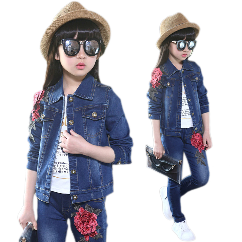 children clothing sets 2017 new spring girls clothes sets denim embroidery floral printed kids clothes girls outfits 2pcs 4-11T