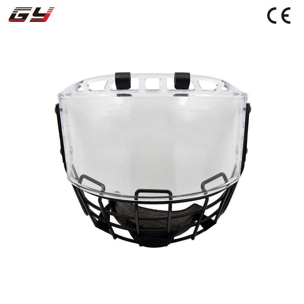 Ice hockey helmet combination with metal mask PC visor player google 2016 hot sale ice hockey helmet for player black full face mask