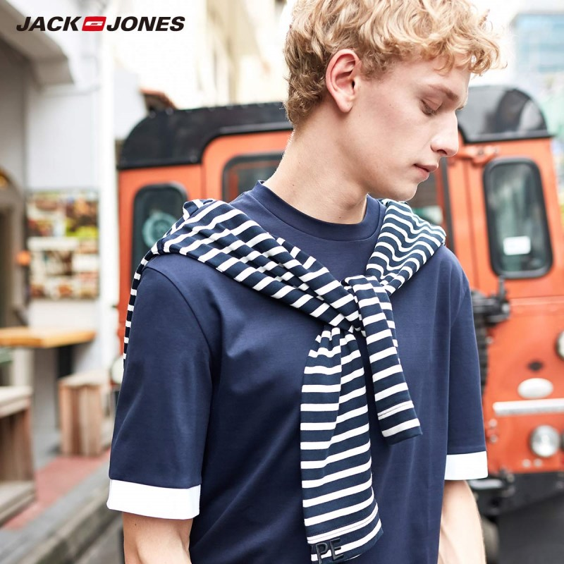 JackJones Men's 100% Cotton Loose Fit Contrasting Short-sleeved T-shirt Style| 219101558