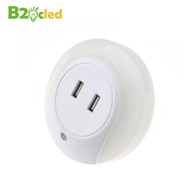 LED lumière de nuit capteur 2 USB prise De Charge LED 110 V 220 V 0.5 W lampe de nuit automatique intelligence lumière blanche chaude pour chambre