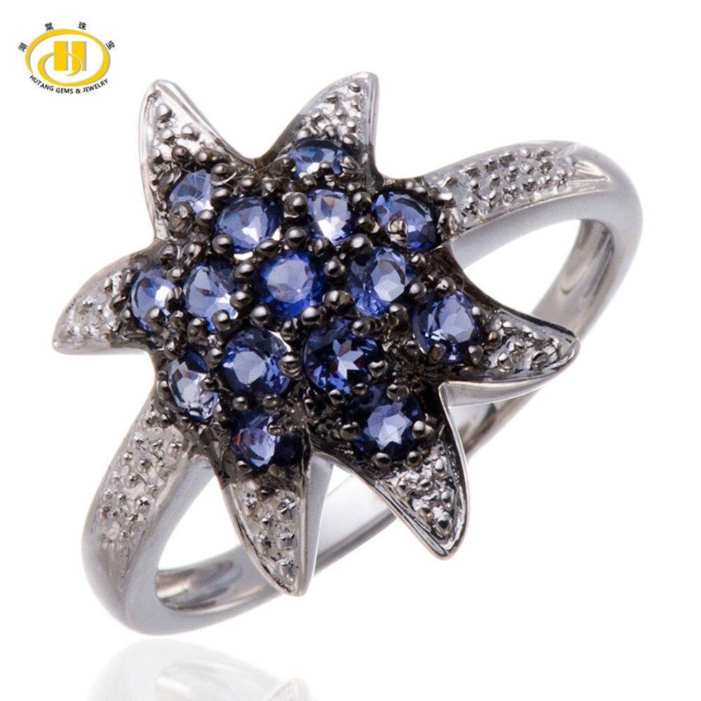 Hutang Fashion Natural Iolite Gemstone Solid Rings Two-tone Sterling Silver 925 Starfish Ring Women