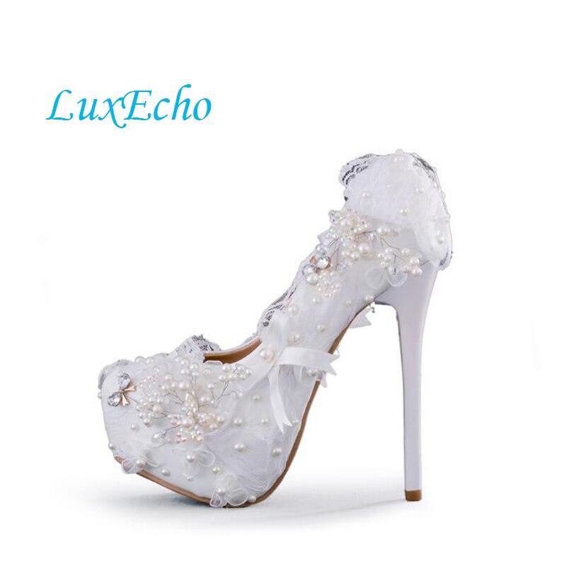 цена на Fashion Lace Women Wedding Shoes 6CM/8CM/11CM/14CM Big Size Bride Wedding Party Dress Shoes High heel Pumps Adult High heel