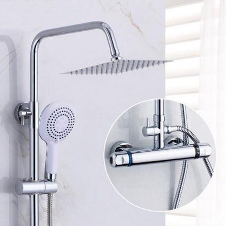 Bathroom shower faucet thermostatic mixing valve, Wall mounted shower faucet mixer, Brass thermostatic shower faucet shower head wholesale and retail wall mounted thermostatic valve mixer tap shower faucet 8 sprayer hand shower