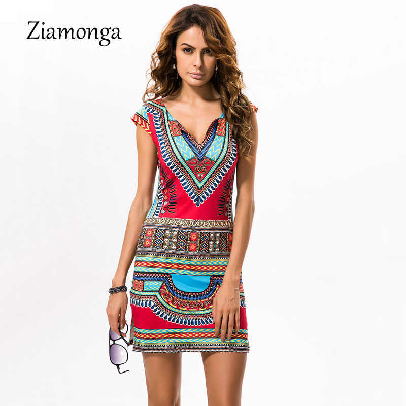 Ziamonga 2017 donne di estate dress stile barocco vintage ethnic dress v profonda stampa floreale casual beach dress boho hippie vestido