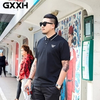 GXXH Brand Clothing Plus Size Men's Large Size Summer Polo Shirt Loose Fit Bee Embroidered Polo Shirt Suit for 80 150Kg Men