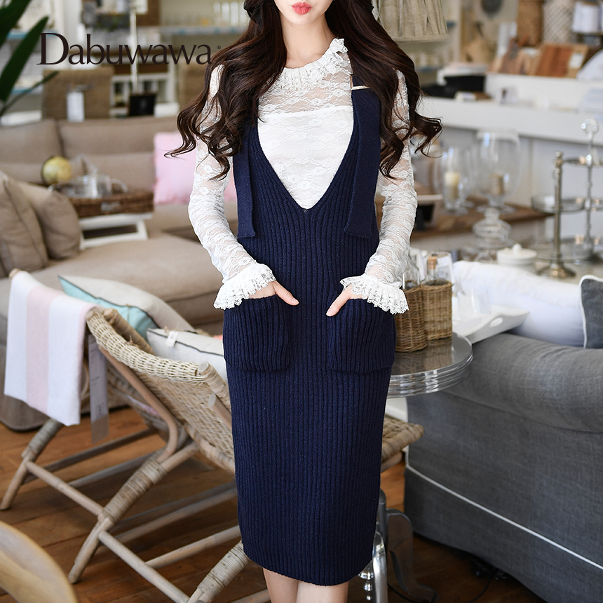 Dabuwawa Four colors Autumn Winter Knitted Dress Women V Neck Casual Solid Spaghetti Strap Dress #D17DRS012